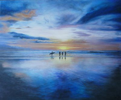 Sunset painting by Artist Stuart Le Tissier